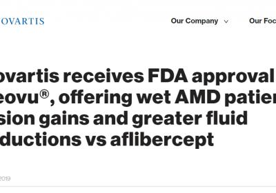FDA批准诺华眼科新药Beovu上市